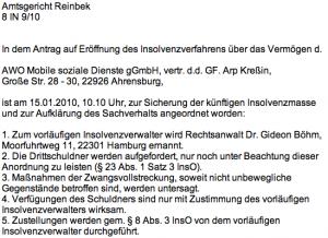 """""""gemeinnützige GmbH"""" gGmbH, AWO """"Mobile Soziale Dienste""""-Insolvenz, vorläufiger Insolvenzverwalter Rechtsanwalt Guido Böhm"""