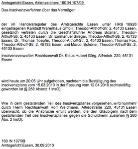 Aufhebung Insolvenzverfahren Karstadt Insolvenzplan