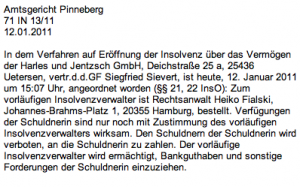 Insolvenz Harles und Jentzsch GmbH