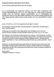Öffentliche Bekanntmachung HSV Handball Insolvenz